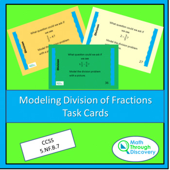 Modeling the Division of Fractions Task Cards - Colored Ba
