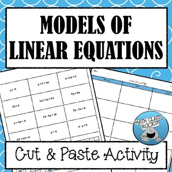Models of Linear Equations Cut & Paste Activity!