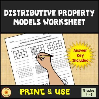 Models of the Distributive Property of Multiplication Worksheet