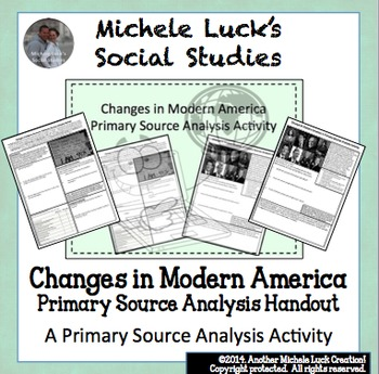 Modern America Primary Source Analysis Activity Homework