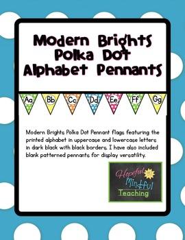 Modern Brights Polka Dot Alphabet Pennants