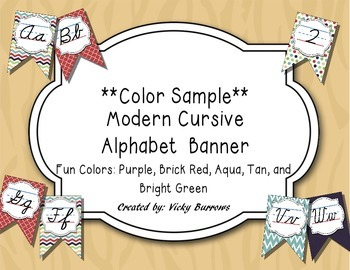 Modern Cursvie Alphabet Banner in Fun Colors- Color Sample