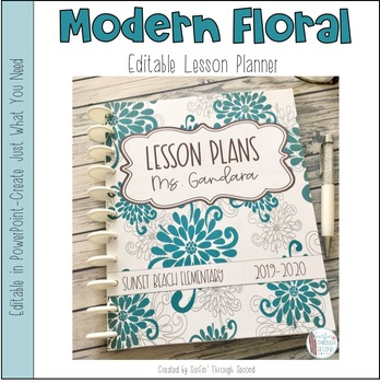 Modern Floral Editable Teacher Binder / Lesson Planner 2016-2017