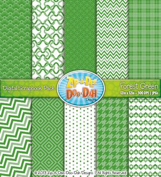 Modern Geometric Patterns Digital Scrapbook Pack - Forest