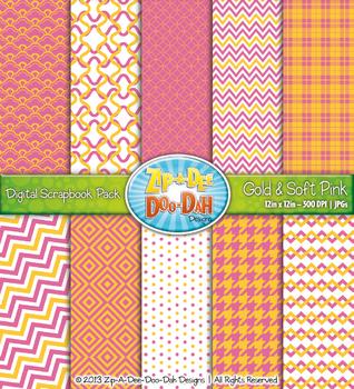 Modern Geometric Patterns Digital Scrapbook Pack — Gold &