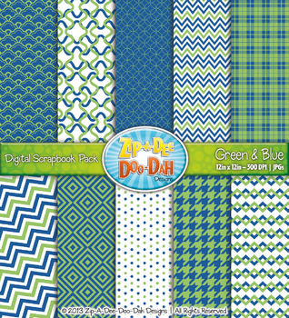 Modern Geometric Patterns Digital Scrapbook Pack — Green &
