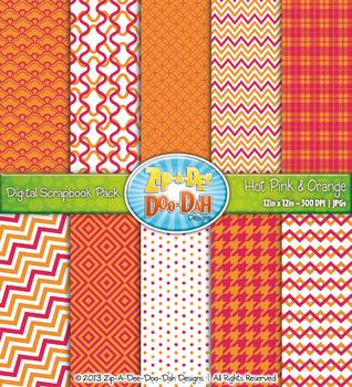Modern Geometric Patterns Digital Scrapbook Pack — Hot Pin