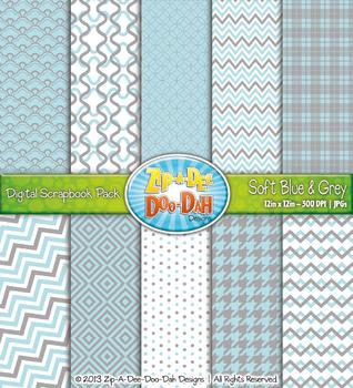 Modern Geometric Patterns Digital Scrapbook Pack — Light B