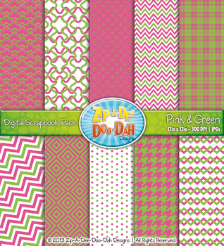 Modern Geometric Patterns Digital Scrapbook Pack — Pink &