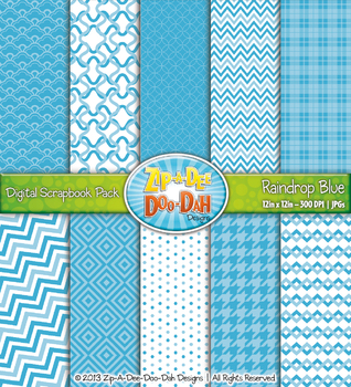 Modern Geometric Patterns Digital Scrapbook Pack - Raindro