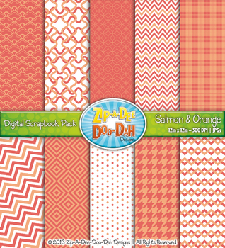 Modern Geometric Patterns Digital Scrapbook Pack — Salmon