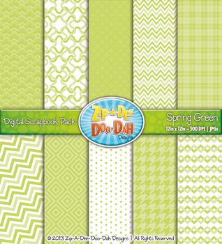Modern Geometric Patterns Digital Scrapbook Pack - Spring