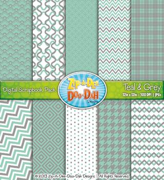 Modern Geometric Patterns Digital Scrapbook Pack — Teal &
