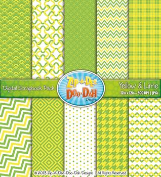 Modern Geometric Patterns Digital Scrapbook Pack — Yellow