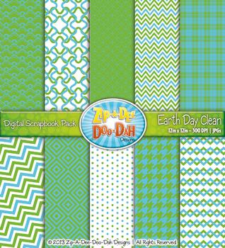 Modern Geometric Patterns Scrapbook Pack - Earth Day Clean