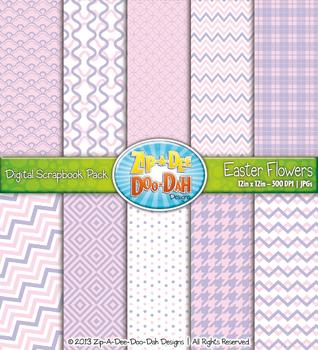 Modern Geometric Patterns Scrapbook Pack - Easter Flowers
