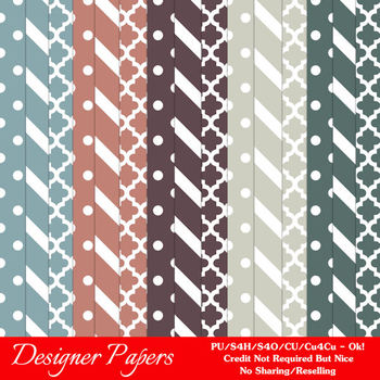 Modern Hues Colors 3 Patterns Digital Papers A4 size