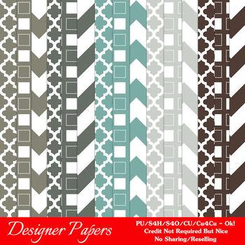 Modern Hues Colors 4 Patterns Digital Papers