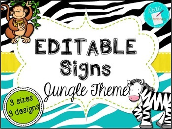 Modern Jungle Theme Poster and Signs {Editable} personal-use only