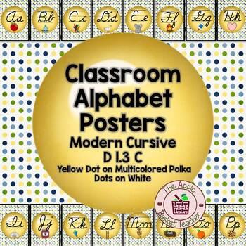ModernDN Cursive Alphabet Line Posters Yellow Dot~Multicol
