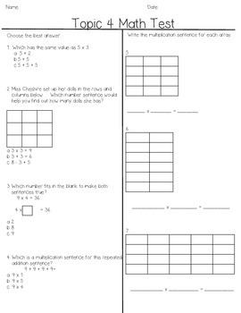 Envision Grade 3 Topic 4, Beginning multiplication, arrays