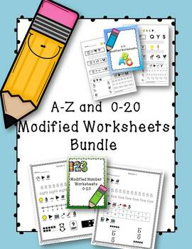 Modified Alphabet and Numbers Worksheets- 94 pages total
