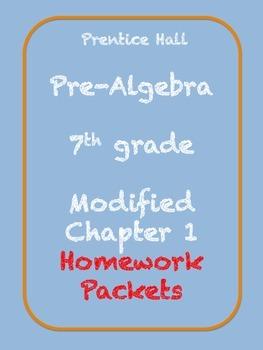 Modified Chapter 1 for Prentice Hall Pre-Algebra text - Ho