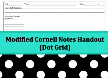 Cornell Notes Handout - Dot Grid