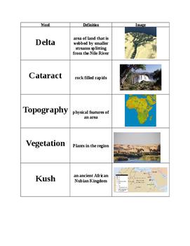 Modified Egypt Vocab Cards