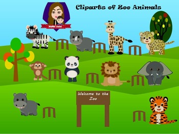 Modified Lessons Clipart of Zoo Animals (Colored and BW)