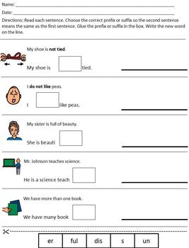 Differentiated/Modified Prefix & Suffix worksheet; special