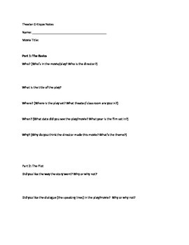 Modified Theater Critique for Visual and Performing Arts -