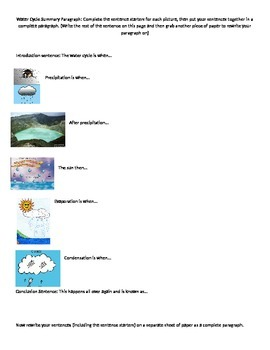 Modified Water Cycle Paragraph Graphic Organizer/Sentence