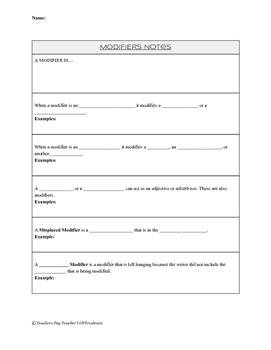 Modifiers Note Sheet