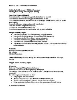 Module 1 Unit 2 Lesson 6 Mid-Unit Assessment