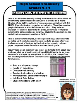 Molarity Inquiry Lab - Chemistry of Concentration