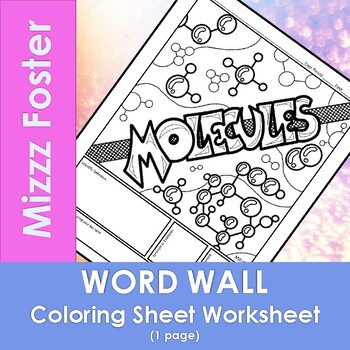 Molecules Word Wall Coloring Sheet