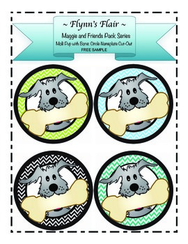FREE Dog -Theme Circle Nameplate Cut-Out