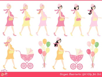 Mom Mommy to be Girl Clipart Set