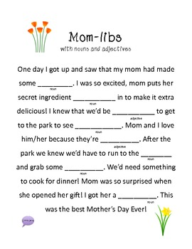 Mom-libs! A great Mother's Day Mad-lib