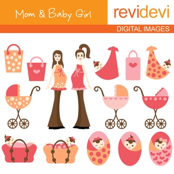 Mom to be and Baby Girl clip art