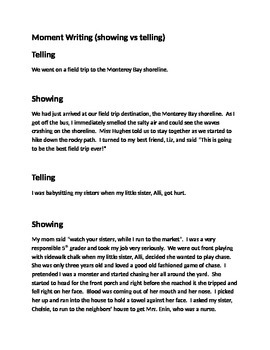 Moment Writing - Showing vs Telling (Narrative Writing)