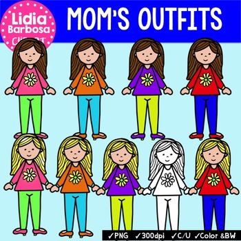 Mom's Colorful Outfits {Clip Art for Teachers}