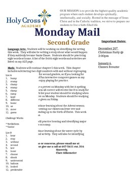 Monday Mail - Parent Newsletter