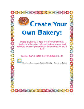Money Activity,Create your own Bakery