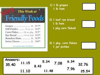 Buying Food - Adding Sales; Real World Math (SMART BOARD)