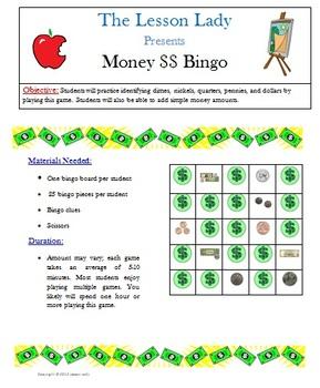 Money Bingo Game - Dollars and Coins