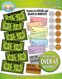Money / Currency Clip Art — Includes Bills, Coins, Checks