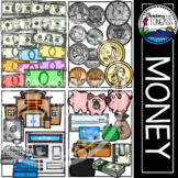 Money Clipart American Currency--Coins and Dollars Bundle