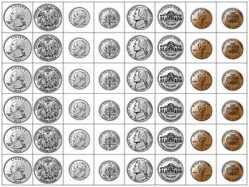 Money: Coin Cards - Quarters, Dimes, Nickels, and Pennies